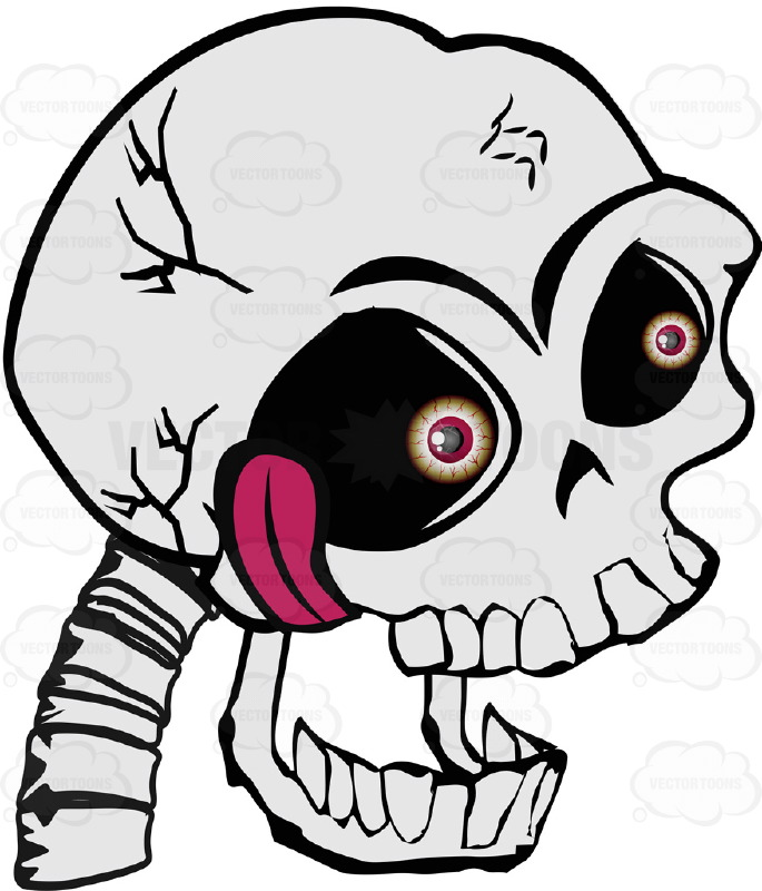 685x800 Cartoon Human Skull With Mouth Open Hanging Tongue Bloodshot Red