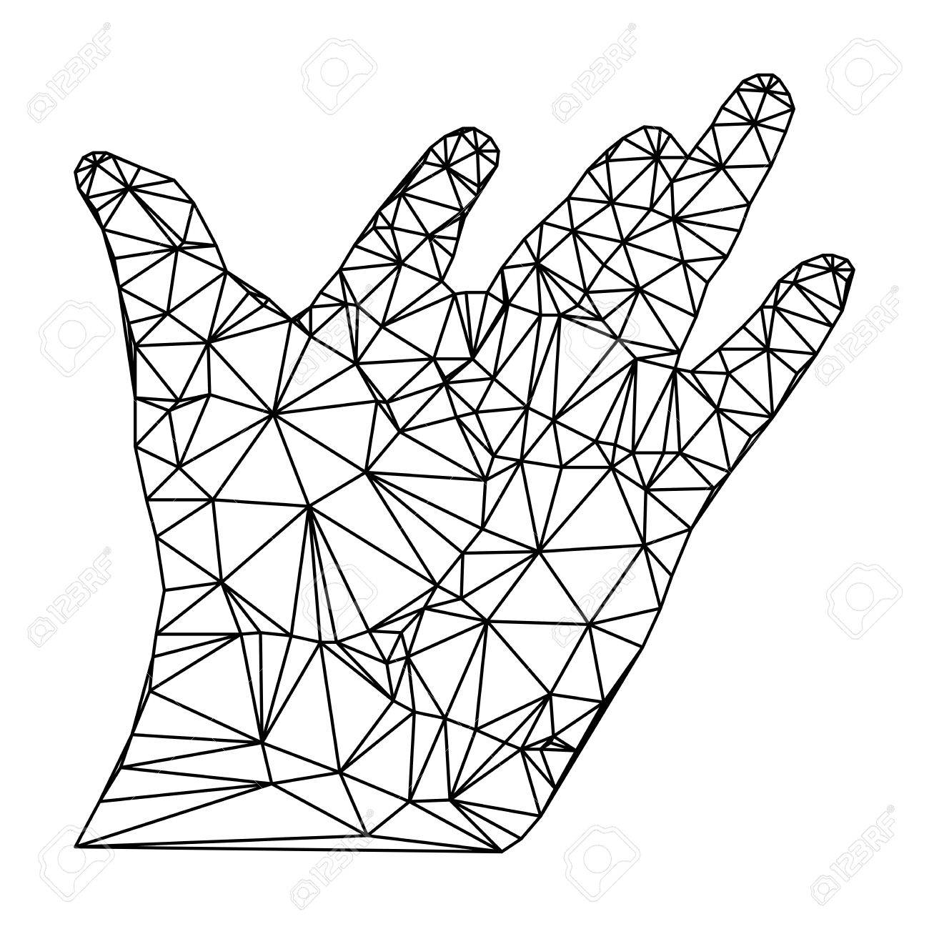 1300x1300 Geometric Polygonal Hand, Open Palm, Vector Illustration