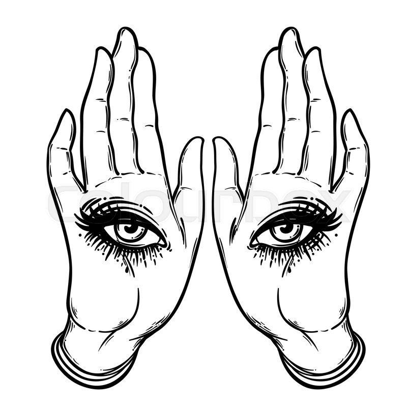 800x800 Mysterious Creature With Eyes On The Hands. Hand Drawn