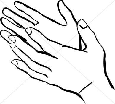 388x352 Open Hand Clipart Black And White