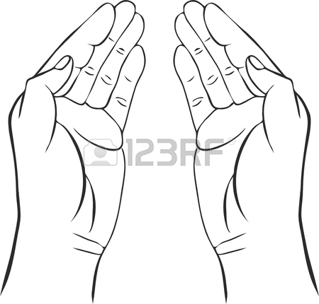 450x430 Two Hands With Open Palms, Hand Drawn Vector Illustration,guardian