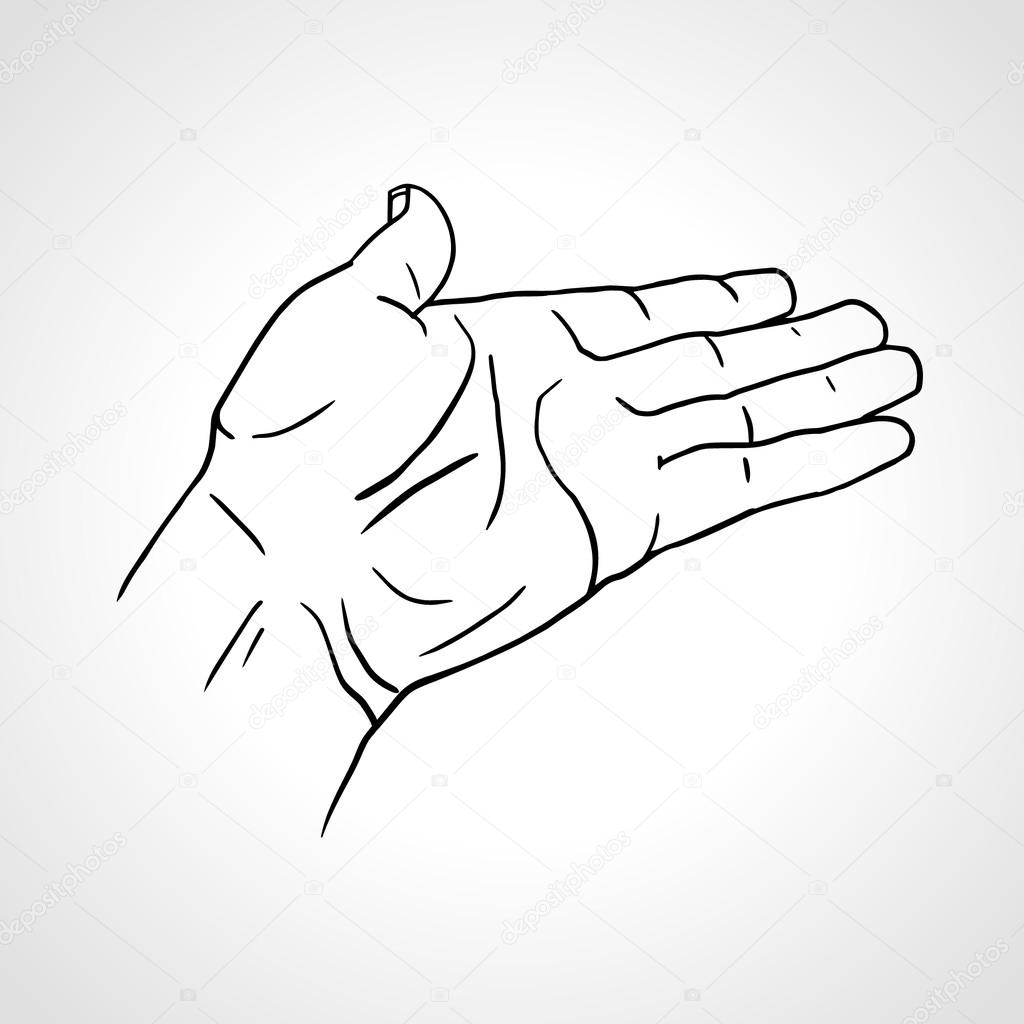 1024x1024 Vector Illustration Of A Palm Up Outreaching Hand Gesture
