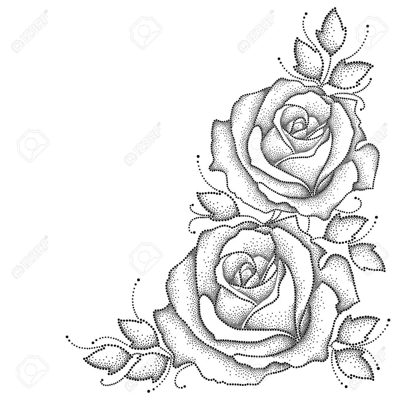 1300x1300 Illustration With Two Dotted Rose Flower And Leaves In Black