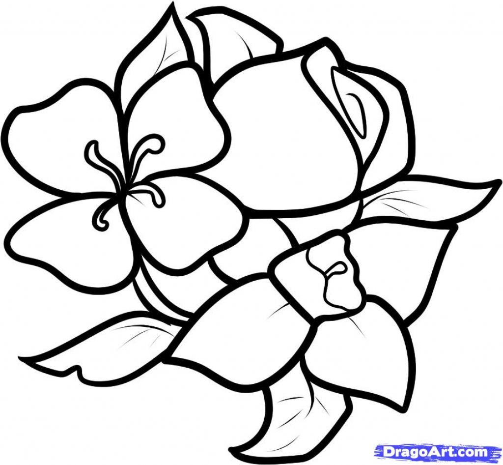 1024x946 Flower Easy To Draw How To Draw A Rose Easy Open Rose Art Tutorial