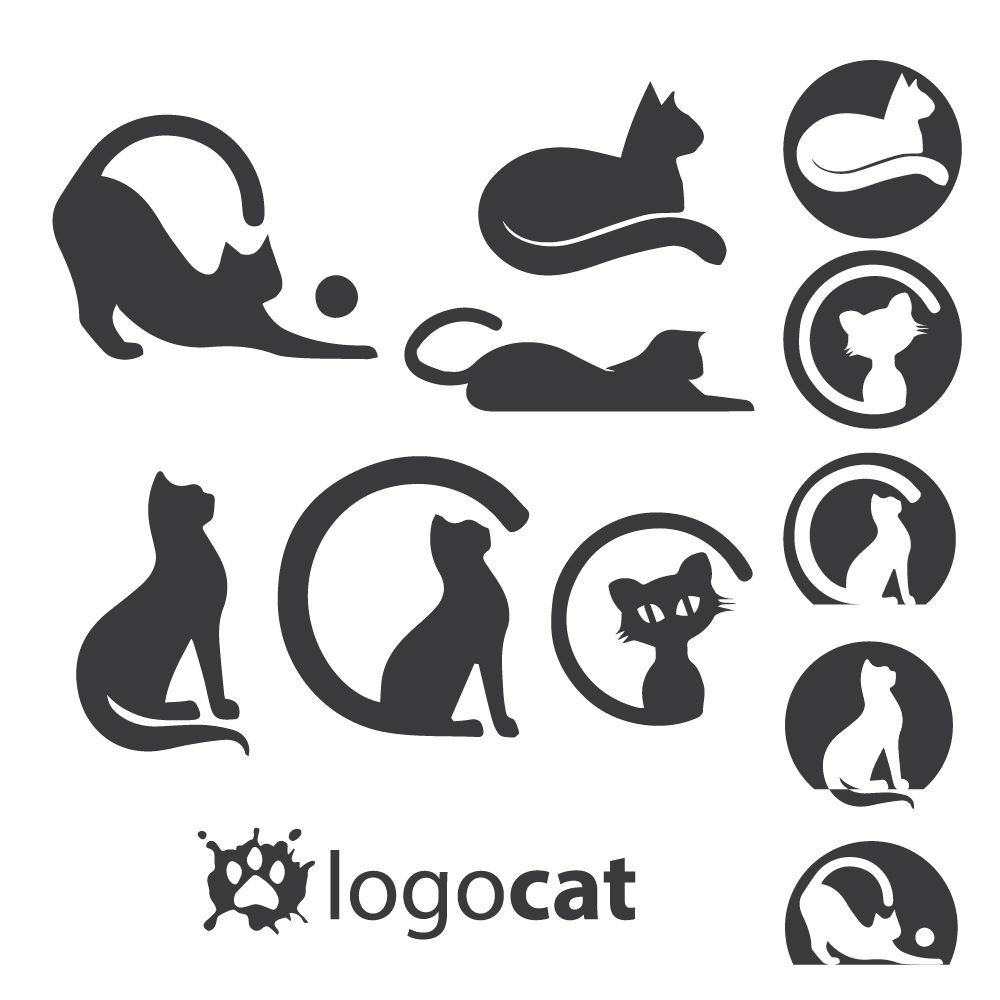 1000x1000 Instant Download Cat Logo Set Concept Designed In A Simple Way So