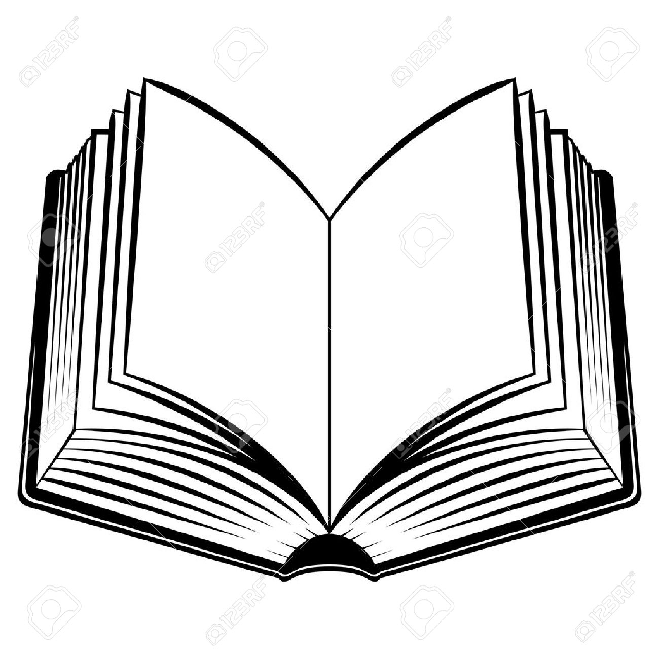 1300x1300 Open Book. Black And White Illustration For Design Royalty Free