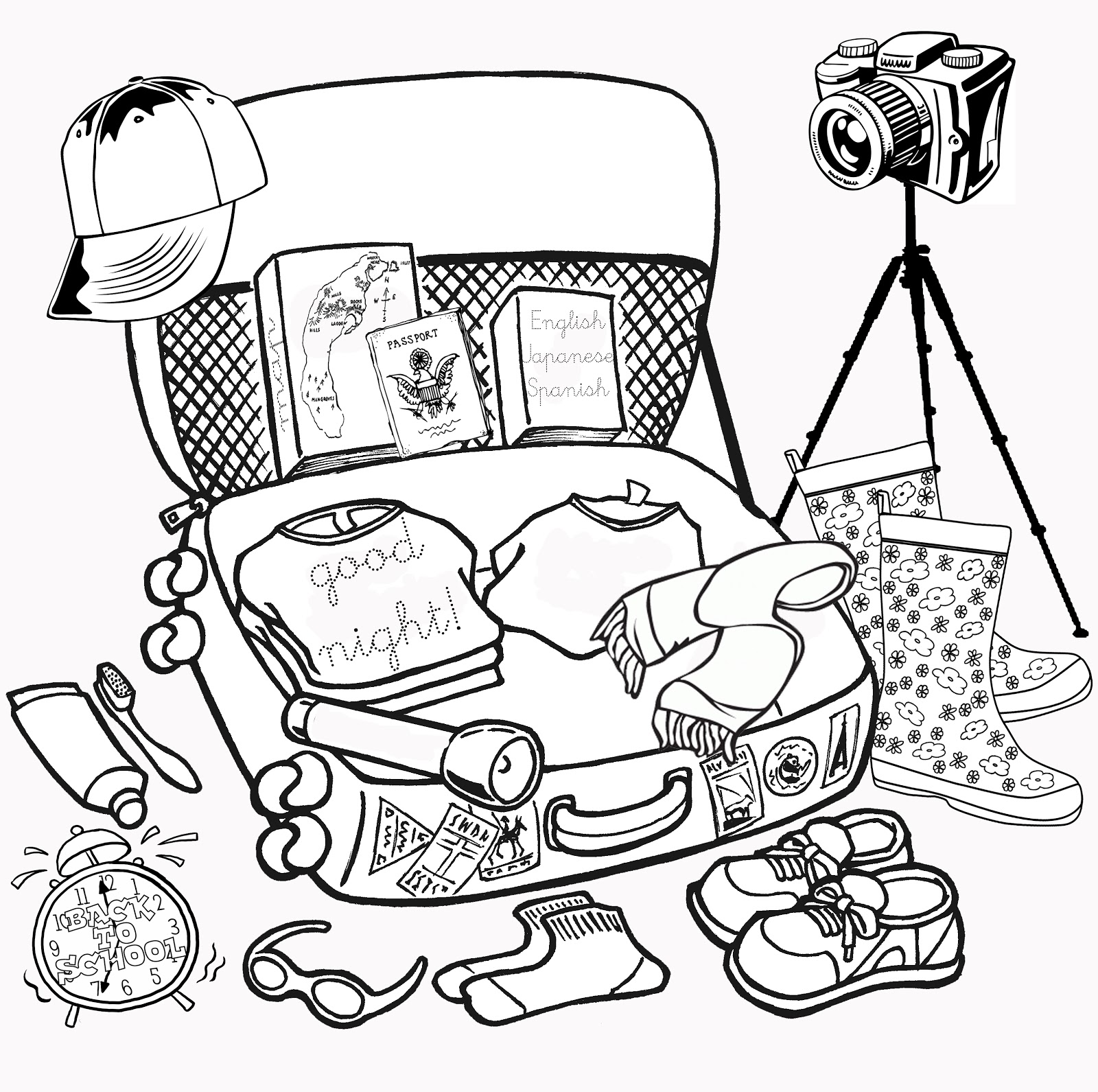 1600x1591 Suitcase Coloring Pages