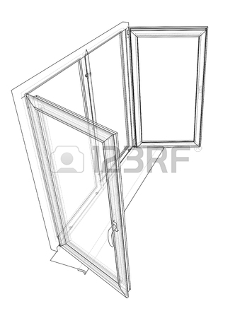 356x450 Open House Window, Sketch Style Illustration Royalty Free Cliparts
