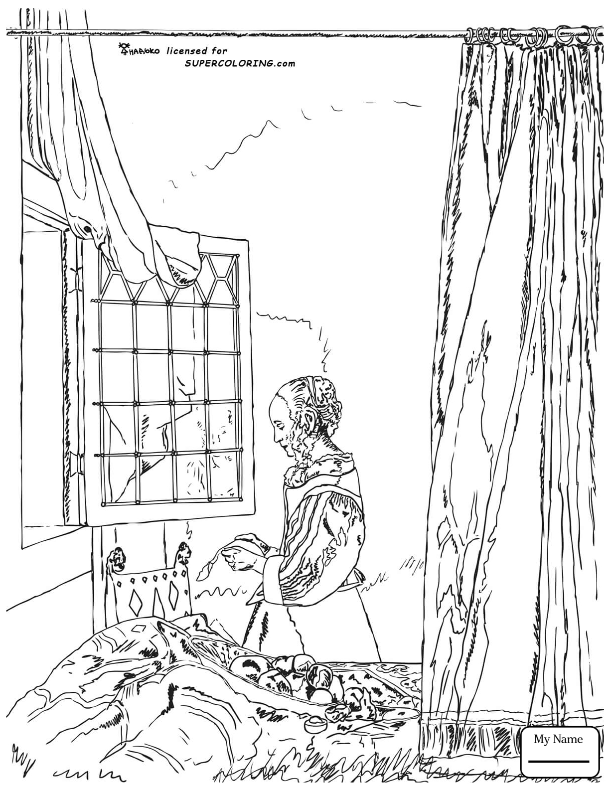 1224x1585 Coloring Pages A Girl Reading A Letter By An Open Window By