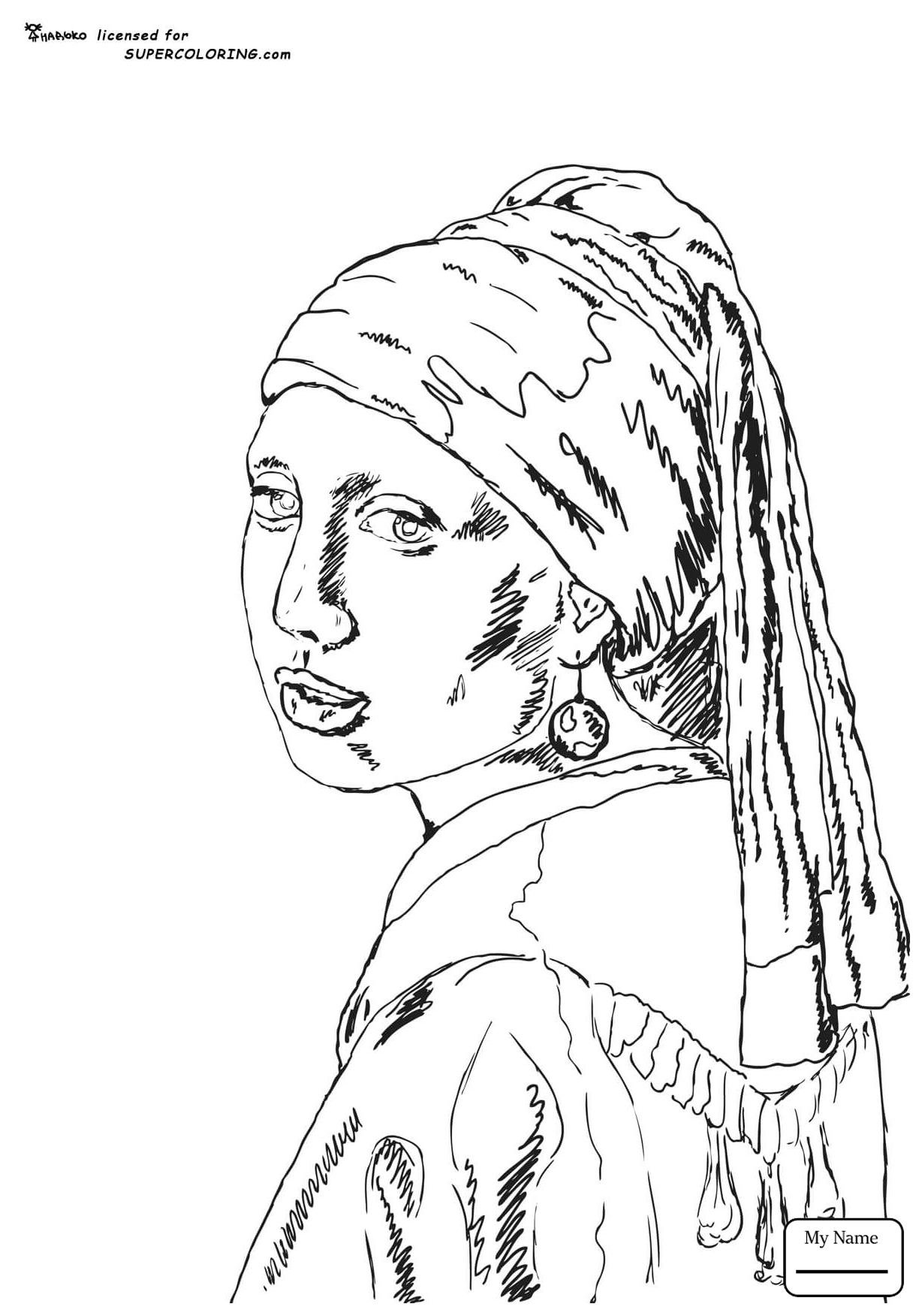 1224x1751 Coloring Pages For Kids Johannes Vermeer Arts Culture A Girl