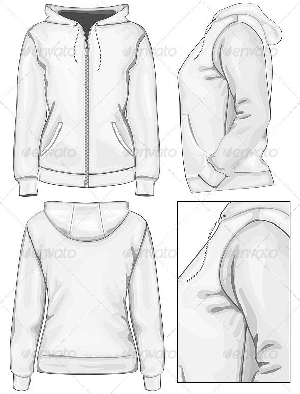 590x774 Women's Hooded Sweatshirt With Zipper Animation Character