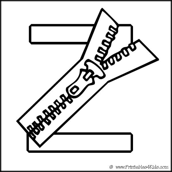 600x600 Alphabet Coloring Page Letter Z Zipper Printables For Kids
