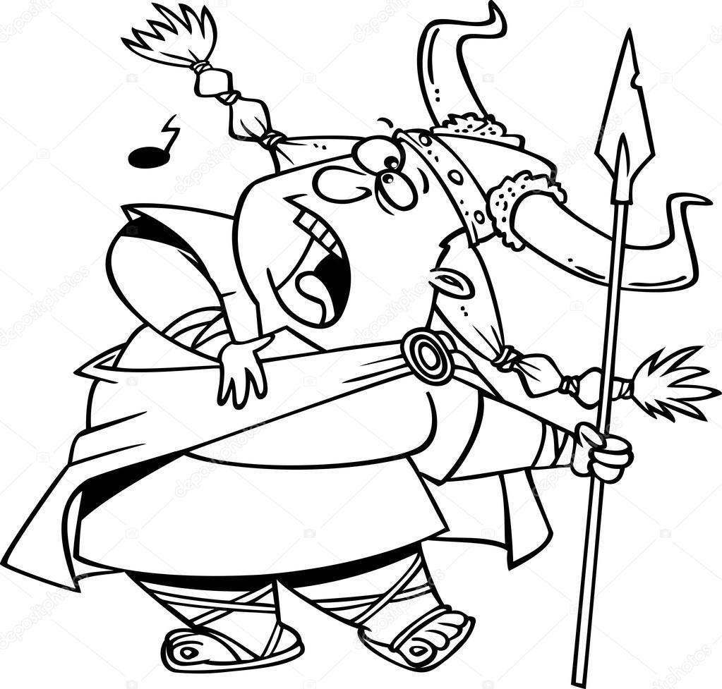 1023x977 Cartoon Viking Opera Singer Stock Vector Ronleishman