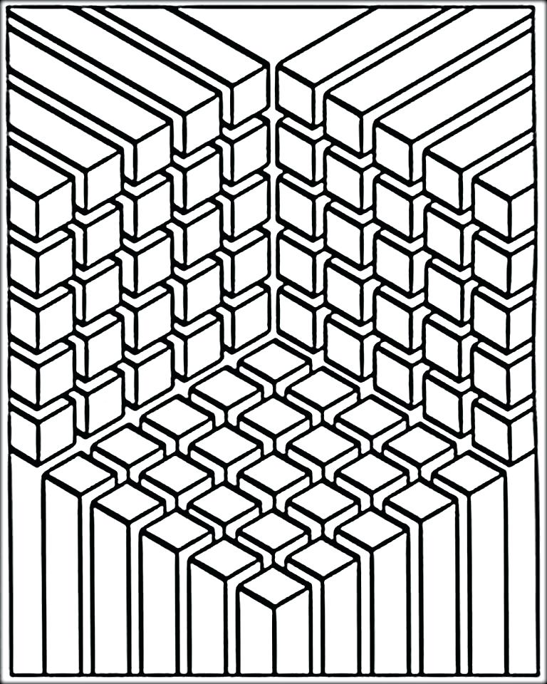 hard illusion coloring pages - photo#16