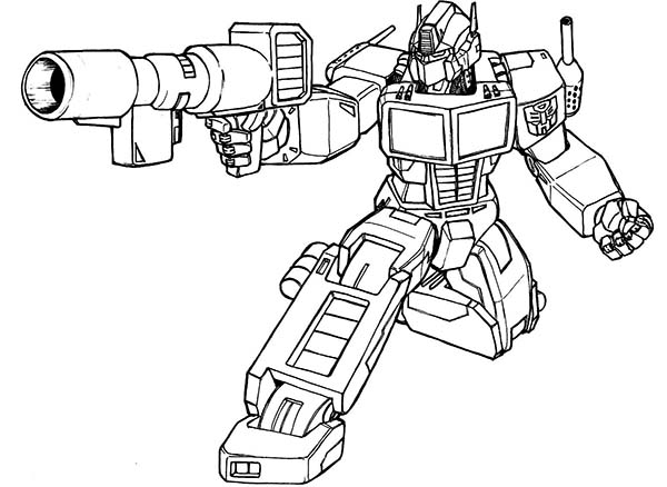 600x438 Optimus Prime Bazooka Of Transformers Coloring Page