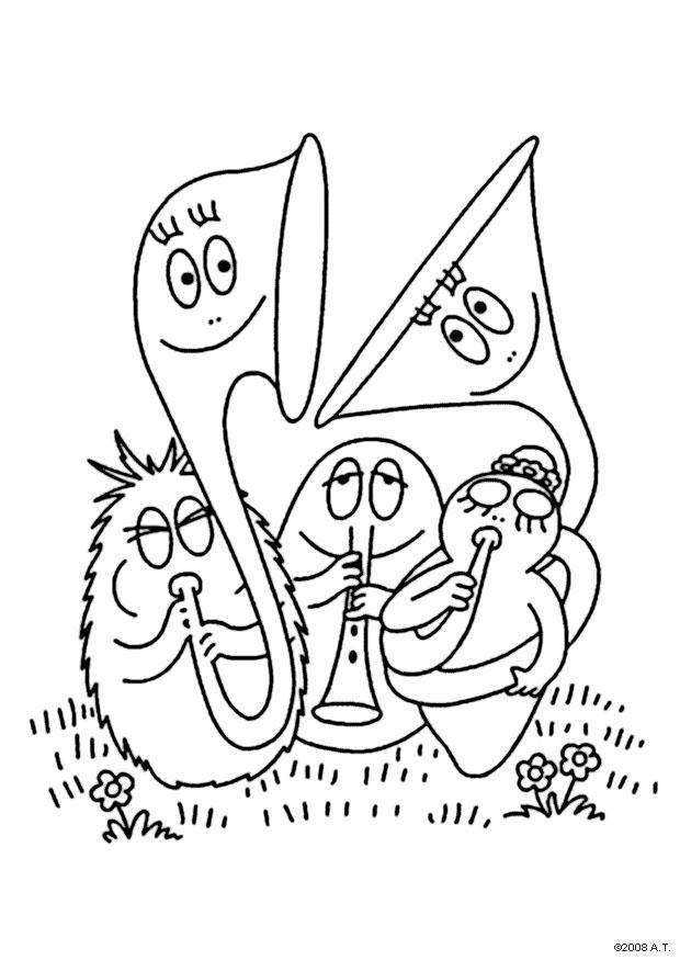 620x875 Coloring Page Barbapapa Orchestra