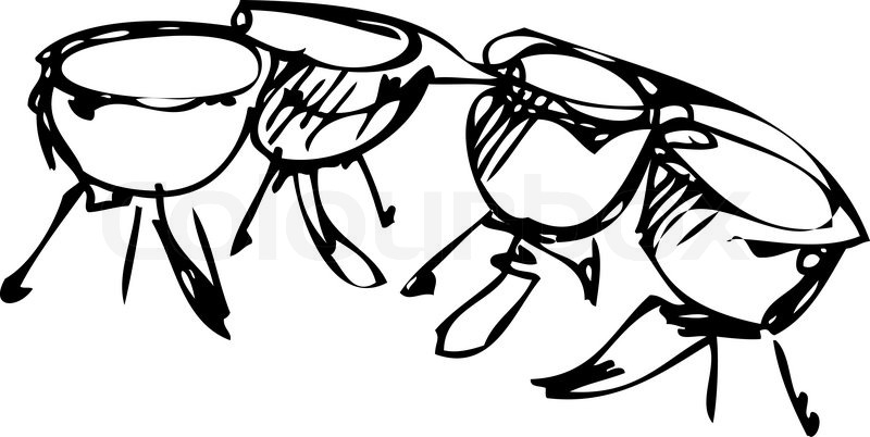 800x402 A Sketch Of Percussion Instruments Orchestra Timpani Stock