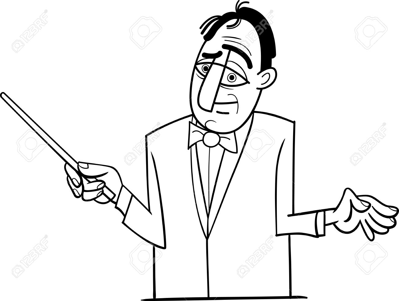 1300x981 Black And White Cartoon Illustration Of Orchestra Conductor Funny