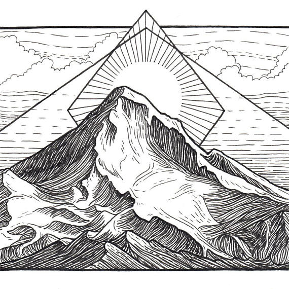 570x570 Mt Hood 8x8 Print Mountain Art Giclee Print Mount Hood