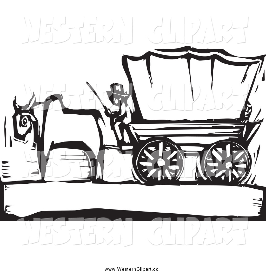 1024x1044 Vector Clip Art Of A Black And White Pioneer And Ox With A Covered