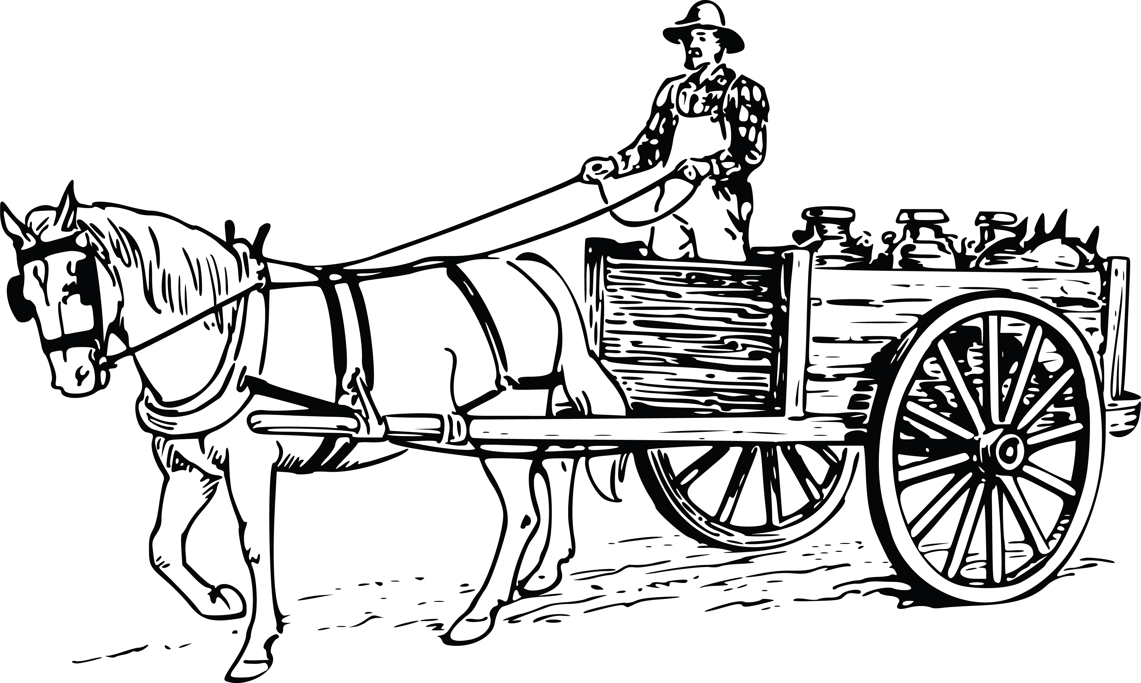 4000x2396 Horse And Wagon Clipart