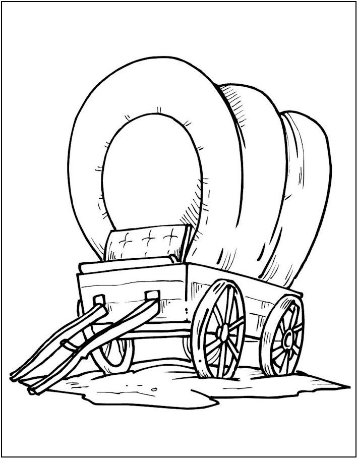 708x908 Covered Wagon Coloring Page Pioneer Day Covered