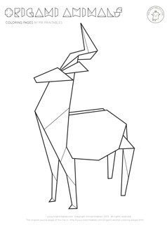 238x320 Origami Animal Coloring Pages