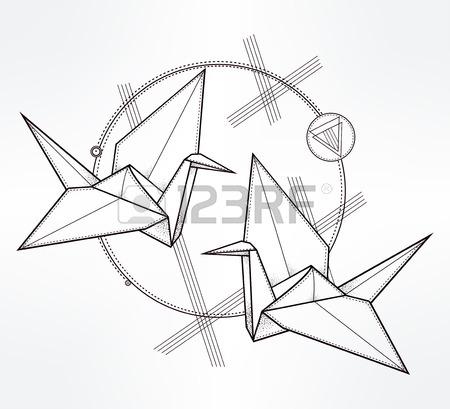 450x409 Origami Crane Birds. Paper Crane Stylized Triangle Polygonal