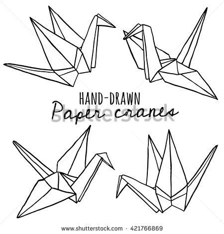 450x470 Hand Drawn Line Paper Crane Set. Origami On White Background Esl