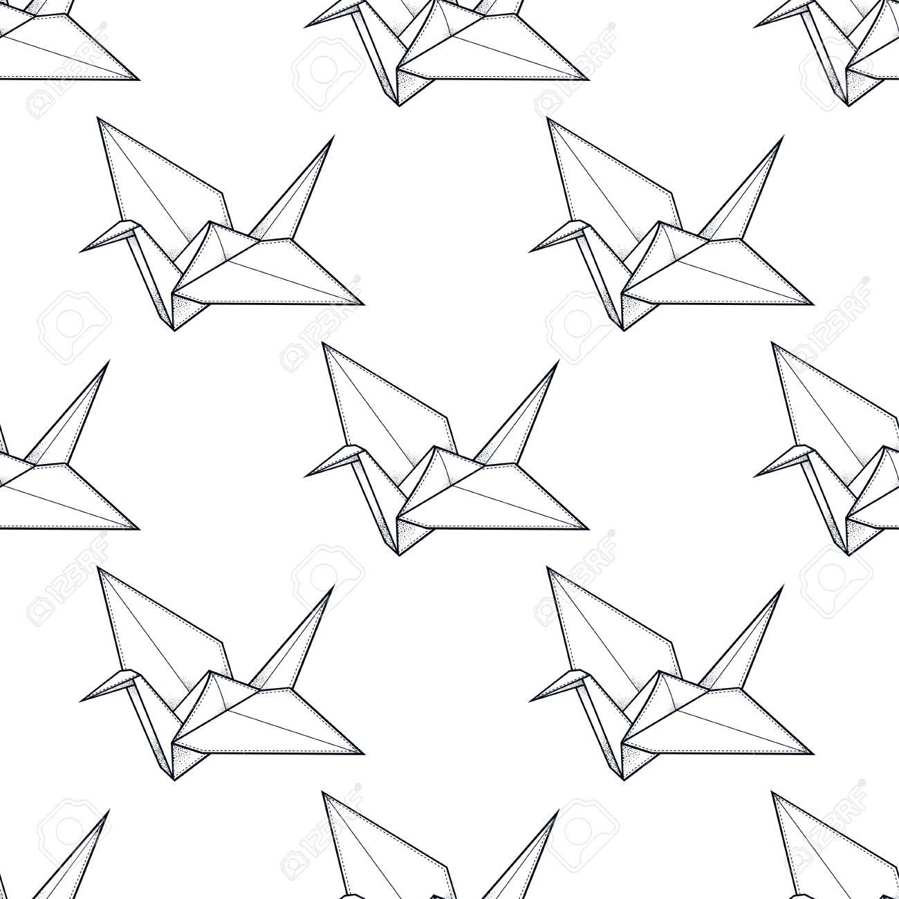 1300x1300 Origami Crane Vector Seamless Pattern. Endless Texture Can Be