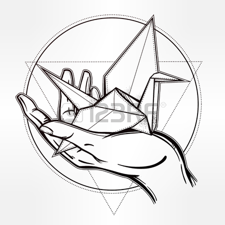 450x450 Hand Drawn Paper Crane In A Hand Palm. Romantic Template In Boho