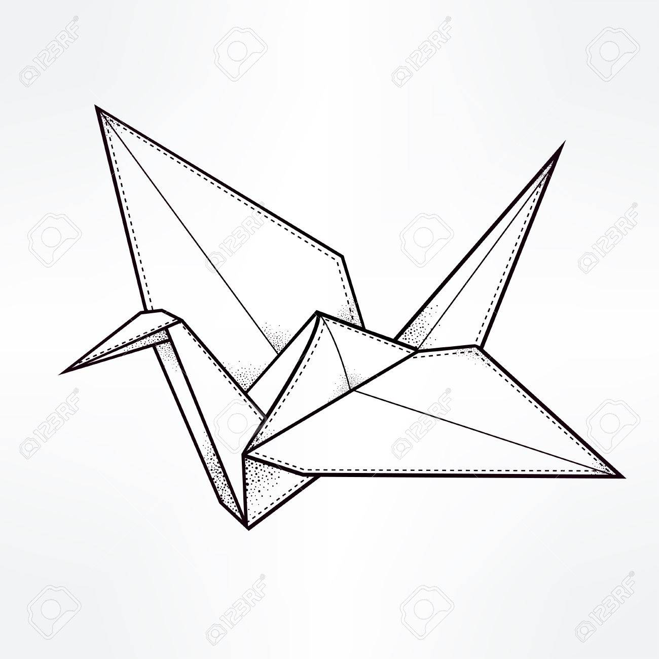 1300x1300 Origami Crane Bird Paper Stylized Triangle Polygonal Model