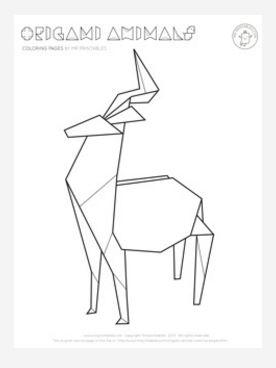276x368 Origami Deer Coloring Page