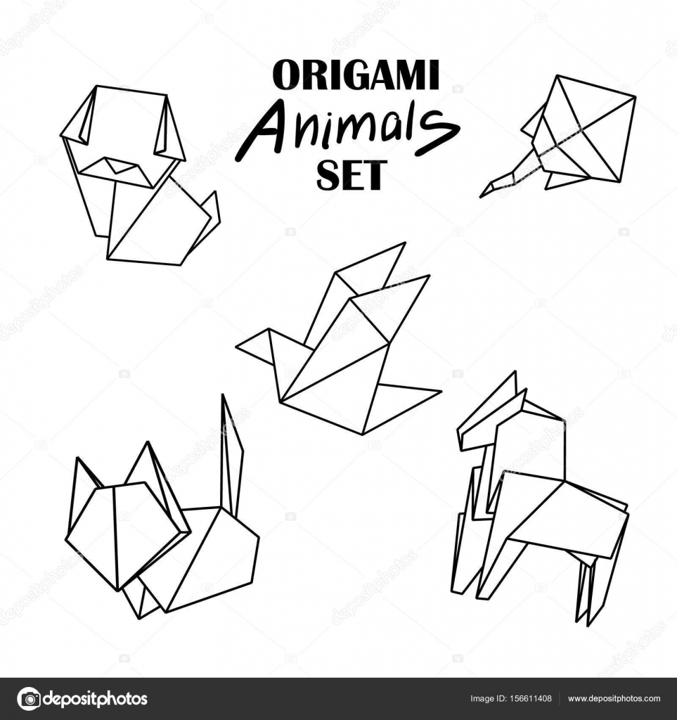 963x1024 Origami Animals Set From Paper Snake Dog Horse Cat