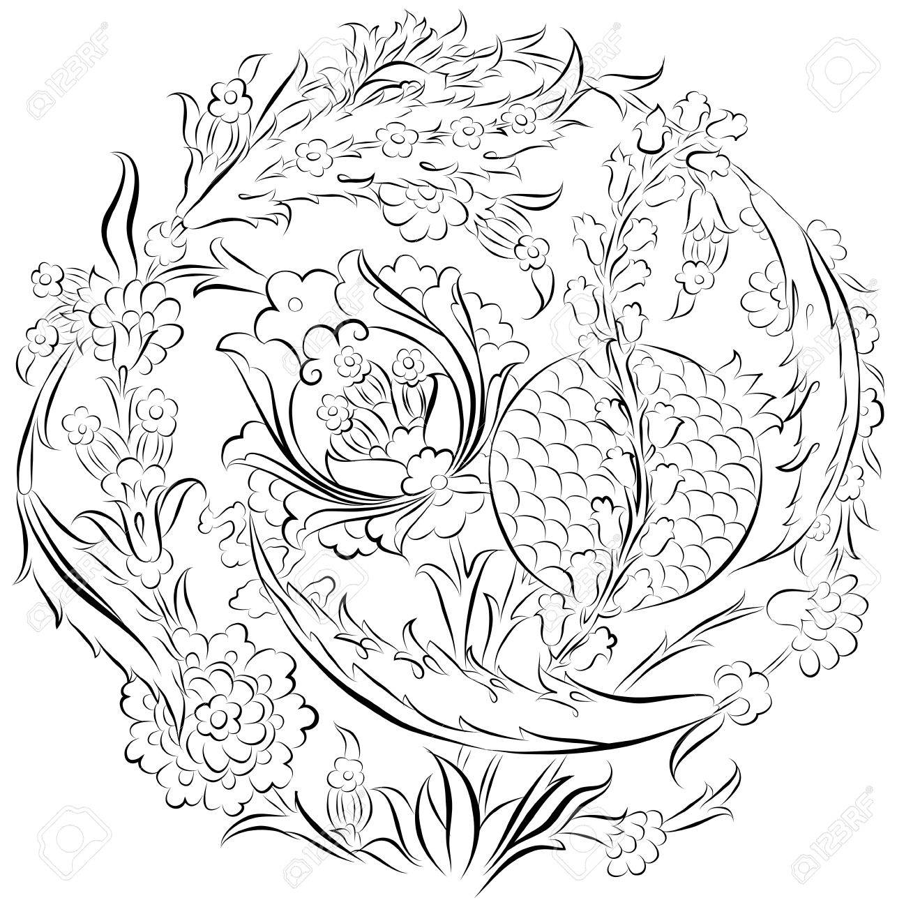 1286x1300 Floral Ornament Drawing In A Circular Composition With Stylized