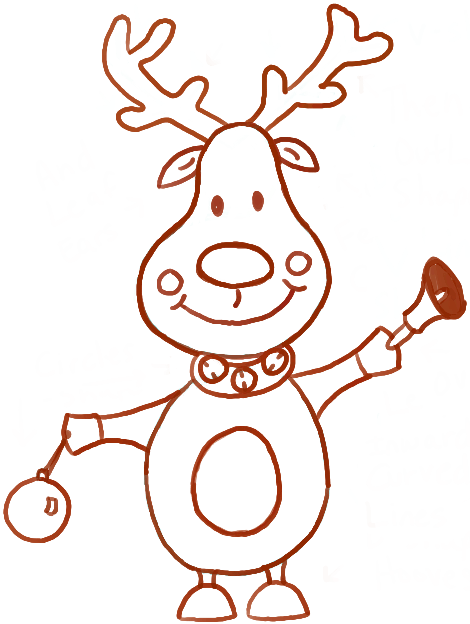 470x624 How To Draw Cartoon Reindeers With Christmas Bell And Ornament