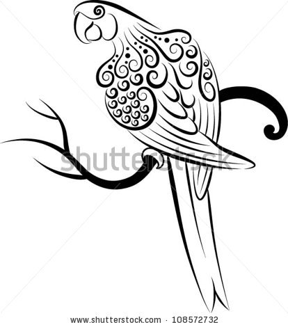 414x470 Bird Vector 3 (Parrot). Parrot Drawing With Curl Ornament