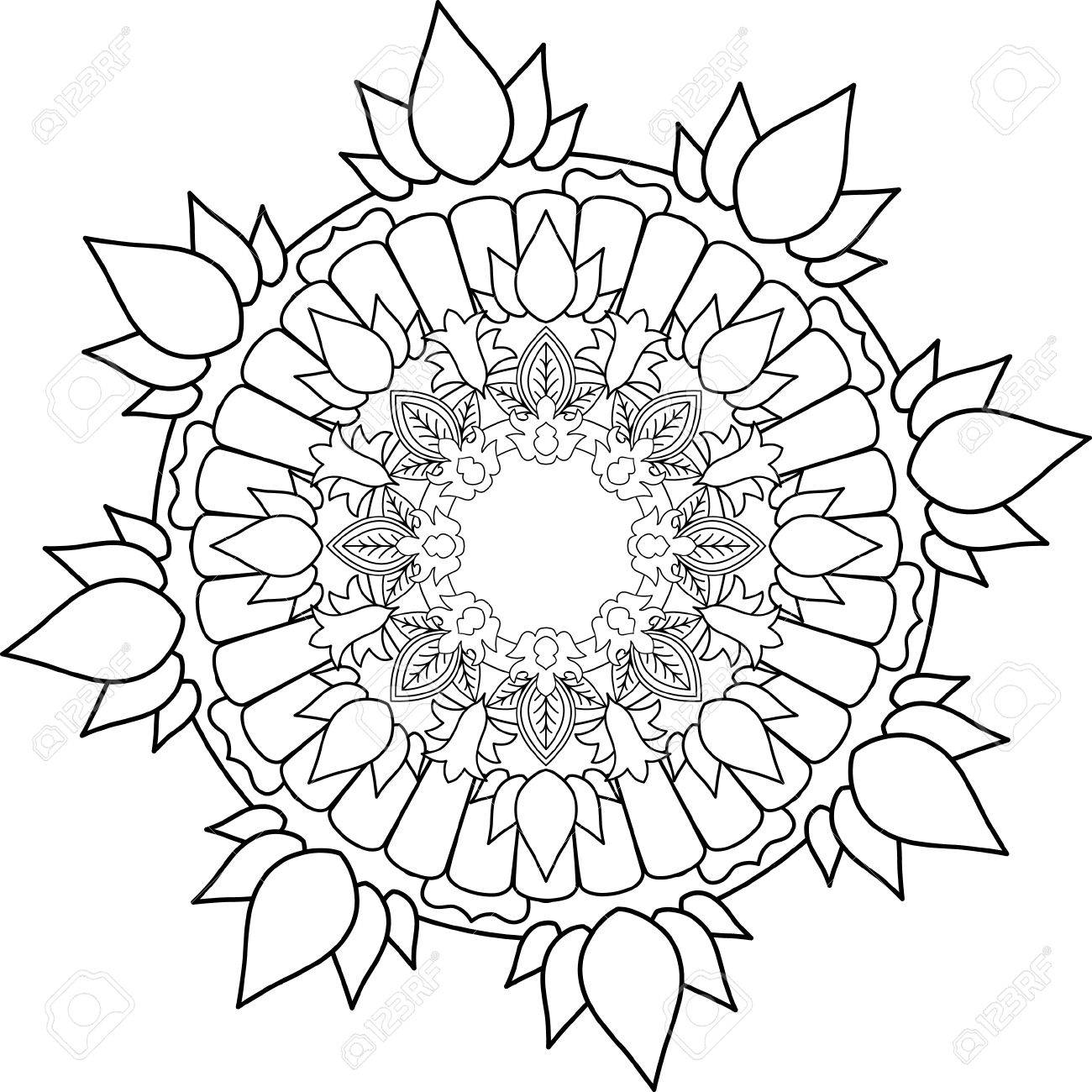 1300x1300 Ornament Mandala, Drawing With Coloring Lines, On White Background