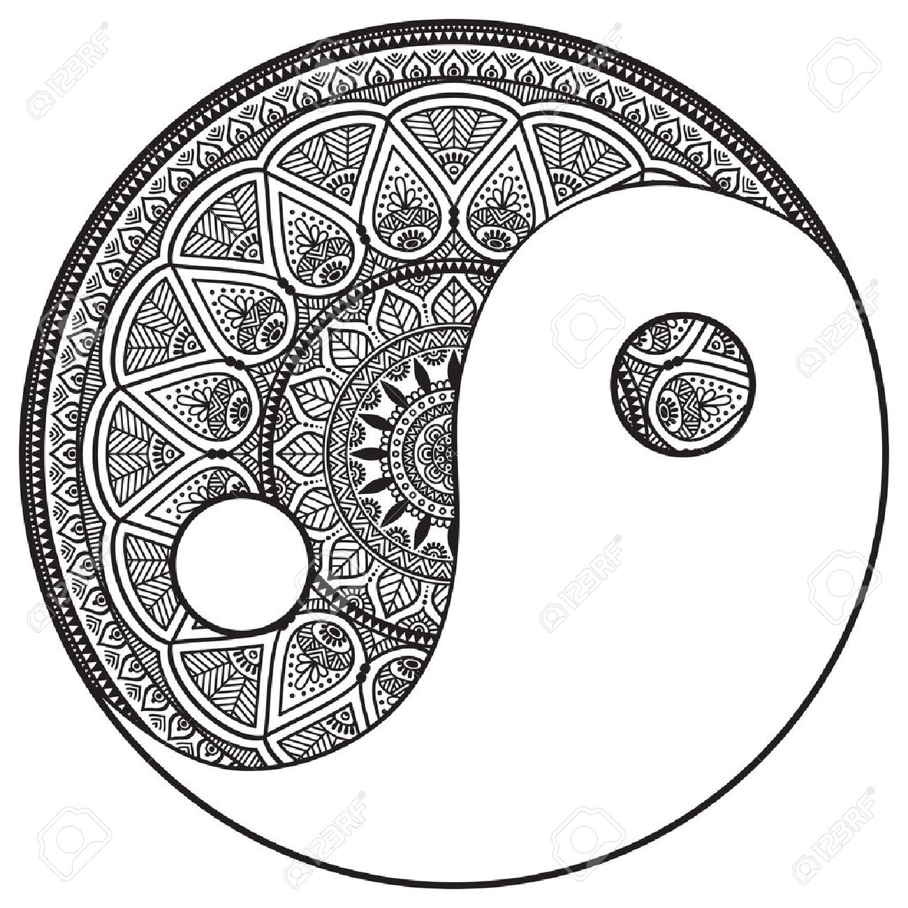 1300x1300 Vector Mandala. Round Ornament In Ethnic Style. Hand Draw Royalty
