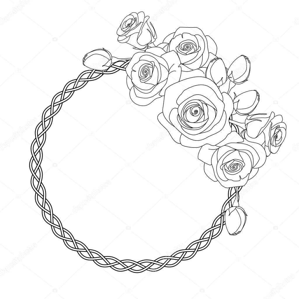 1024x1024 Ornament With Celtic Motive And Roses, Antistress Coloring Page