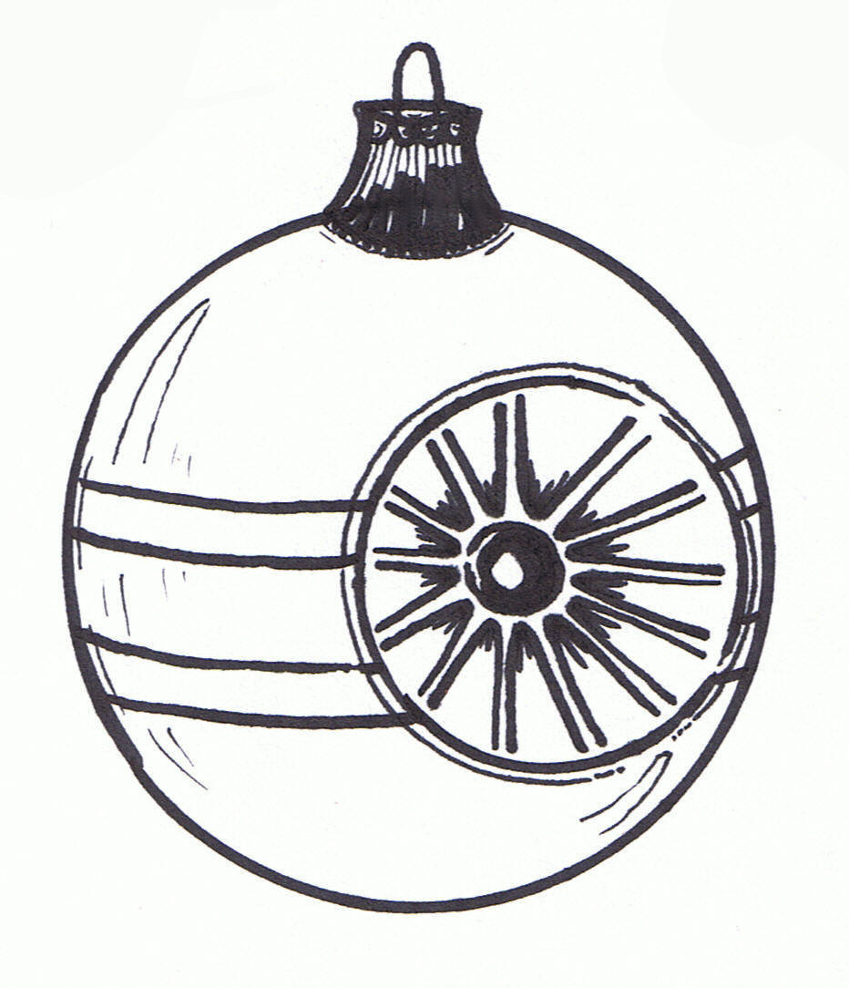 932x1084 Christmas Ornament Clipart Black And White