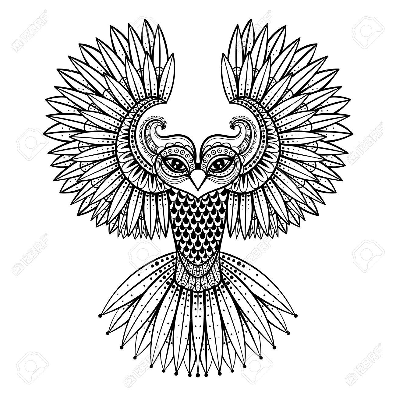 1300x1300 Vector Ornamental Owl, Ethnic Zentangled Mascot, Amulet, Mask