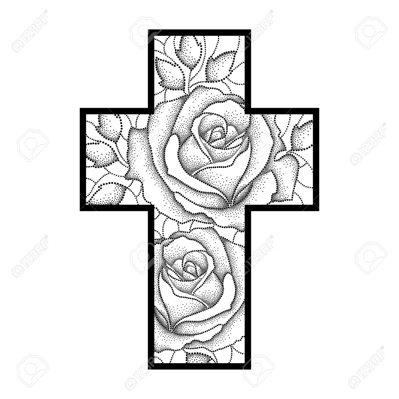 1300x1300 Drawing Of Latin Cross With Dotted Rose Flower And Leaves
