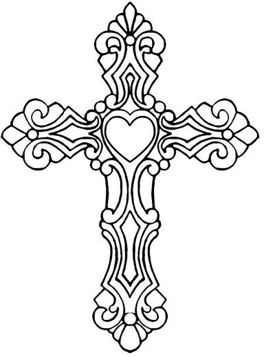 384x520 Heart Cross Coloring Tattoo, Adult Coloring