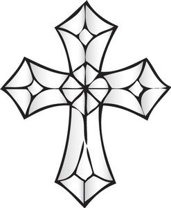 247x300 Ornate Cross Bevel Cluster Stained Glass Patterns