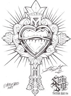 236x319 Ornate Cross With Heart Tattoo By ~metacharis