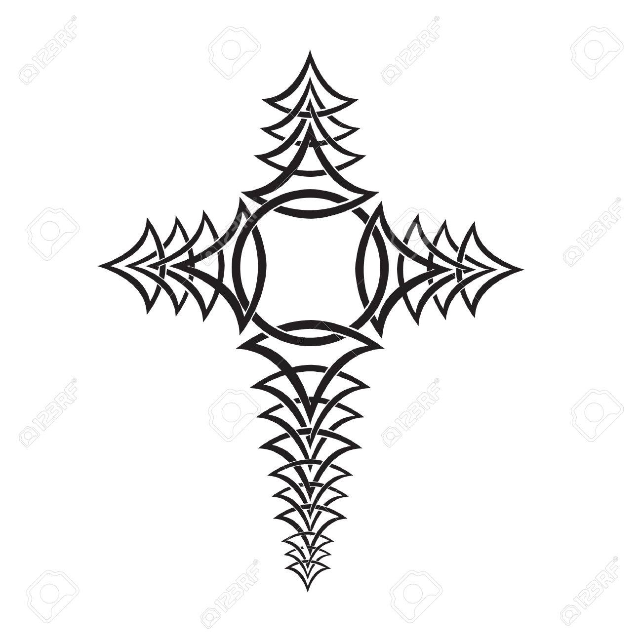 1300x1300 Tribal Cross Tattoo Royalty Free Cliparts, Vectors, And Stock