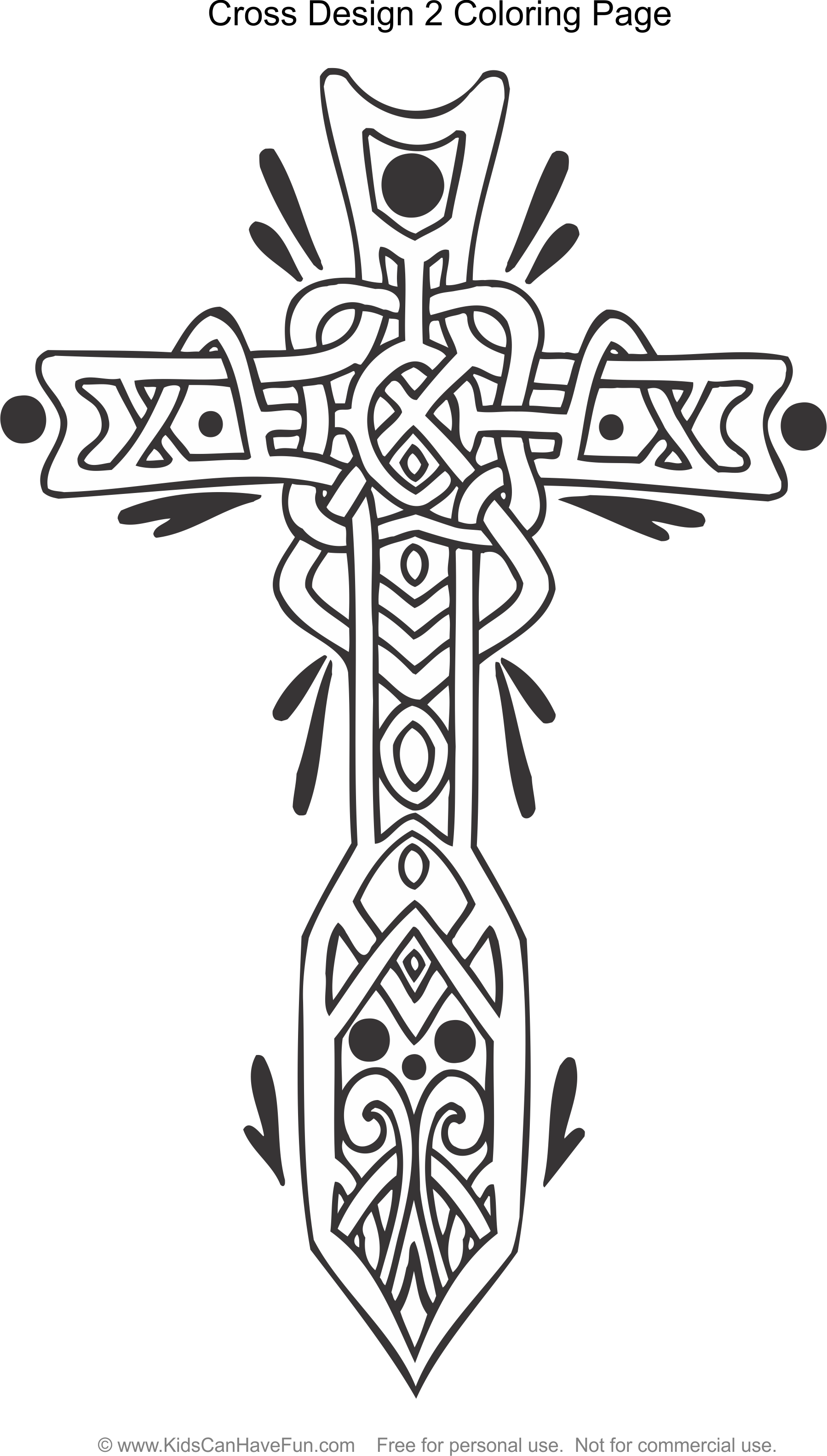1798x3166 Celtic Cross Design 2 Coloring Page