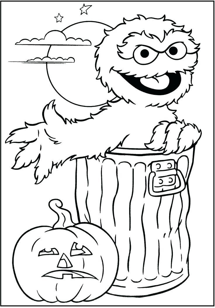 736x1054 Oscar Coloring Pages Sesame Street And Pumpkin Jack O Lantern
