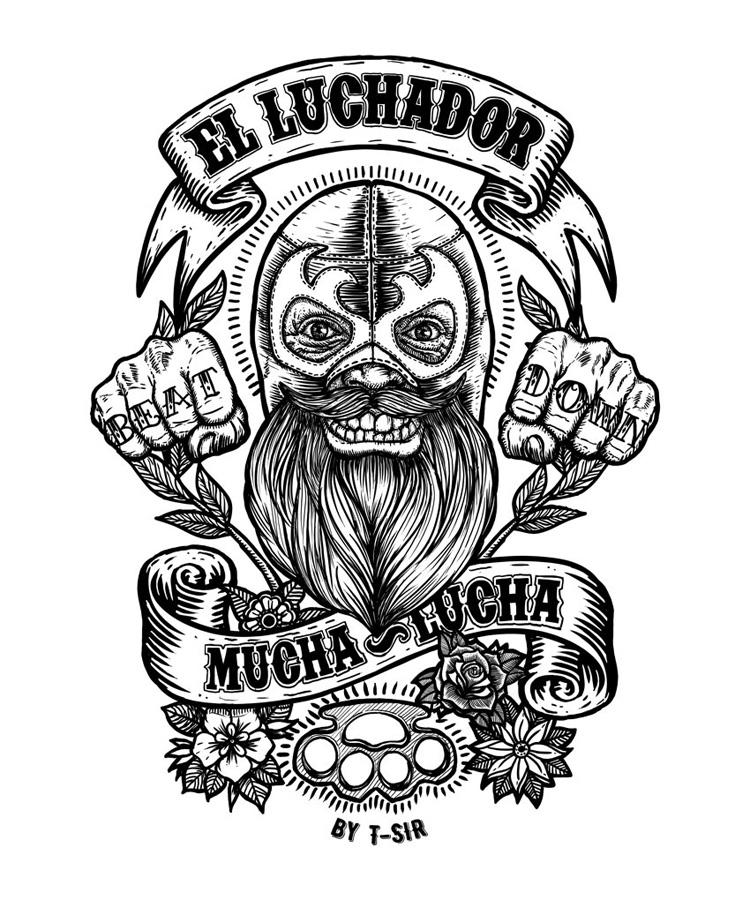 750x900 El Luchador Mucha Lucha Oscar Postigo My Illustrations